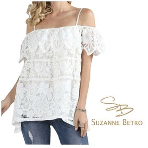 SUZANNE BETRO Lace Off The Shoulder Bardot Top